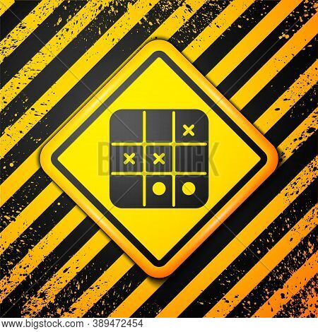Black Tic Tac Toe Game Icon Isolated On Yellow Background. Warning Sign. Vector