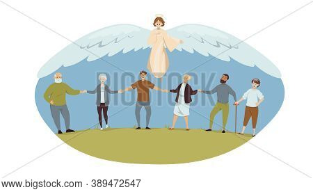 Protection, Health, Care, Support, Religion, Christianity Concept. Angel Biblical Religious Characte