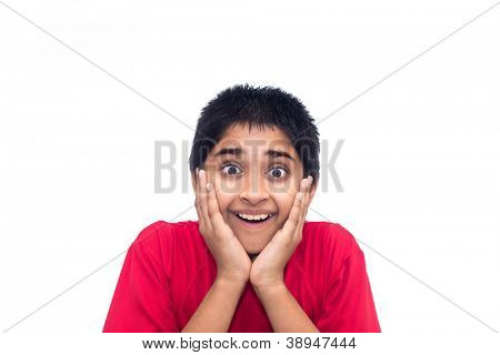 An handsome indian kid looking very excited