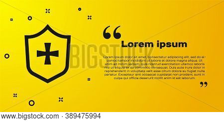 Black Shield Icon Isolated On Yellow Background. Guard Sign. Security, Safety, Protection, Privacy C