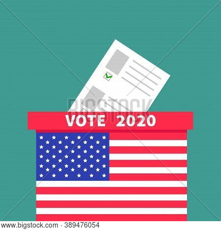 American Flag Ballot Voting Box With Paper Blank Bulletin Concept. Polling Station. President Electi