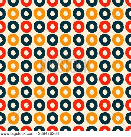 Seamless Geometric Pattern With Hand Drawn Uneven Multicolored Rings For Wrapping Paper Design, Surf