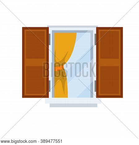 Window With Open Wooden Sashes. Glass And White Frame With Orange Curtain. Element Of Facade Of Hous