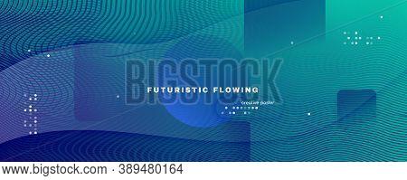 Blue Dynamic Wave. Flow 3d Flyer. Vector Futuristic Line. Dynamic Wave. Vibrant Banner. Fluid Stripe