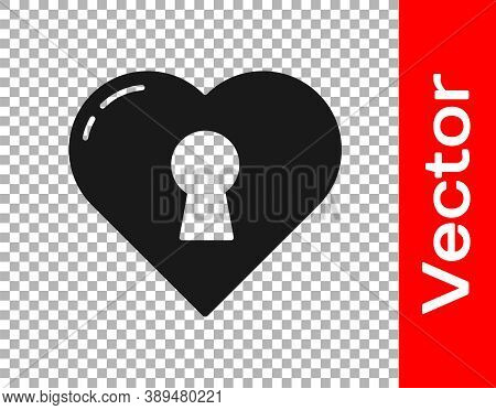 Black Heart With Keyhole Icon Isolated On Transparent Background. Locked Heart. Love Symbol And Keyh