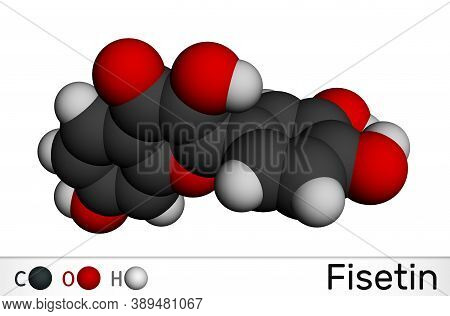 Fisetin Molecule. It Is Plant Flavonol From The Flavonoid Group Of Polyphenols. Molecular Model. 3d