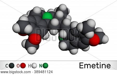 Emetine Molecule. It Is An Antiprotozoal Agent And Emetic. Molecular Model. 3d Rendering