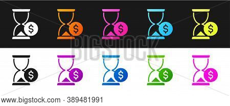 Set Hourglass With Dollar Icon Isolated On Black And White Background. Money Time. Sandglass And Mon