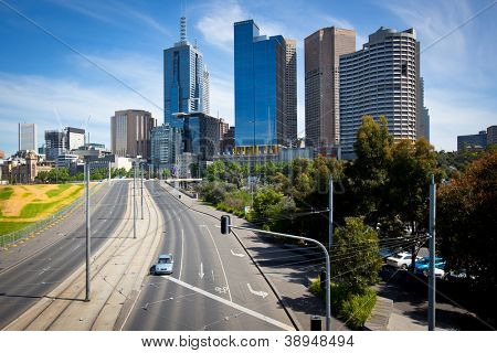 MELBOURNE, AUSTRALIA - OCTOBER 29: Melbourne skyline and exhibition street extension.  The extension tollway opened in October 1999. 29 October 2012, Melbourne Australia,