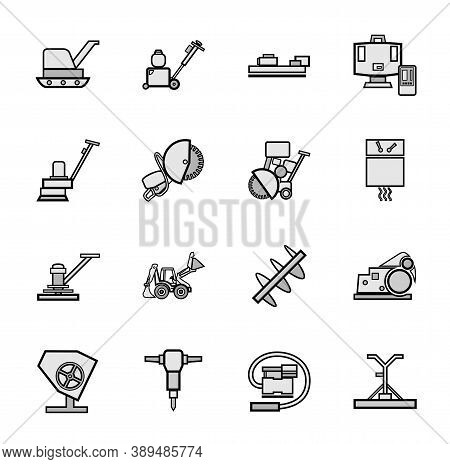 Construction Equipment For Concrete, Icons, Set, Gray. Gray Flat Images With A Black Outline. Equipm
