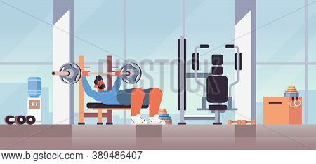 Sportsman Doing Bench Presss Workout With Barbell Fitness Training Healthy Lifestyle Concept Modern