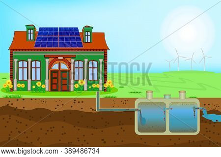 External Network Of Private Home Sewage Treatment System. Sustainable Eco Residential House With Blu