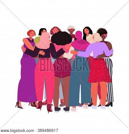 Mix Race Girls Embracing Standing Together Female Empowerment Movement Women Power Concept Full Leng
