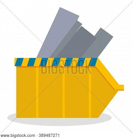 Container From Metal With Warning Line, Gray Materials For Construction Site, Industrial, Industry C