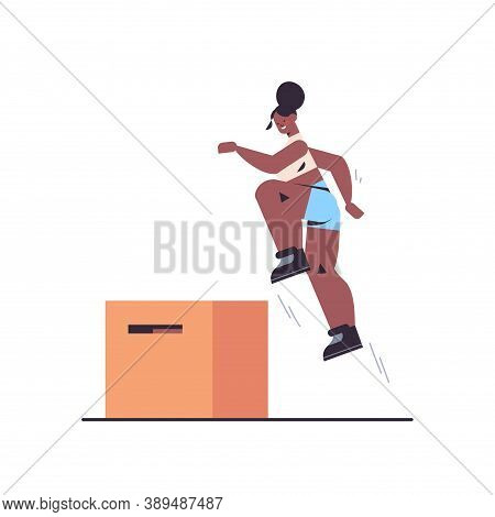 Sportswoman Doing Jumping Squats On Squat Box Working Out In Gym Fitness Training Healthy Lifestyle