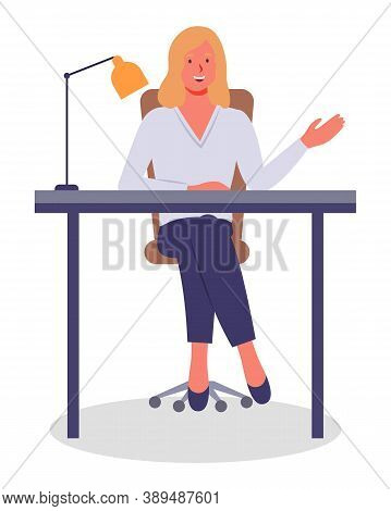 Vector Illustration Of Businesswoman Sitting At The Table In The Office And Working. Lady Gesturing