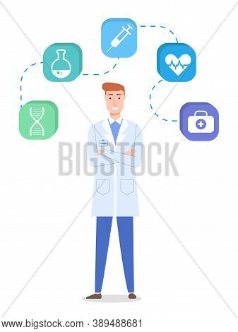 Concept Of Medical Web Icons. Smiling Doctor Wearing Medical Gown. Medicine Icons For Website Dna, F