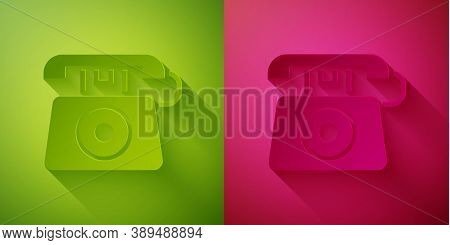 Paper Cut Telephone With Emergency Call 911 Icon Isolated On Green And Pink Background. Police, Ambu