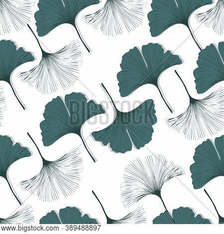 Vector Seamless Pattern With Ginkgo Biloba Leaves.