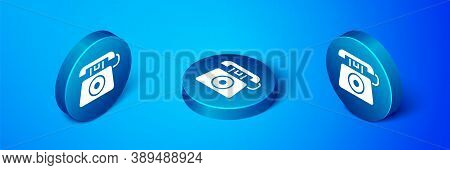 Isometric Telephone With Emergency Call 911 Icon Isolated On Blue Background. Police, Ambulance, Fir