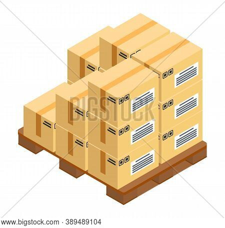 Boxes At Wooden Pallet, Postal Transportation, Delivery Product In Carton Packages Isolated At White