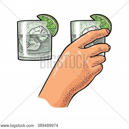 Female Hand Holding Glass Cocktail Gin With Lime And Ice Cube. Vintage Color Vector Engraving Illust