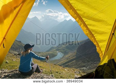 woman hiking in the mountain