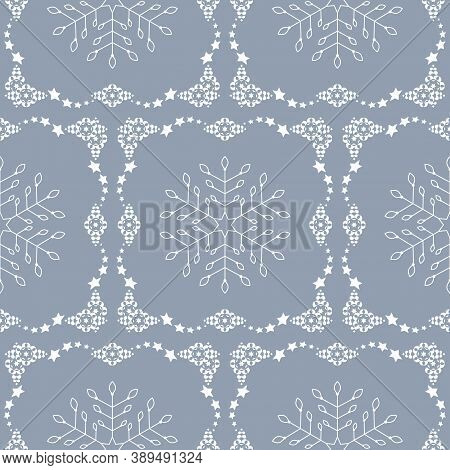 Seamless Pattern Christmas Theme. Snowflakes And Frieze With Stars. Pretty Colors Ice Blue And White