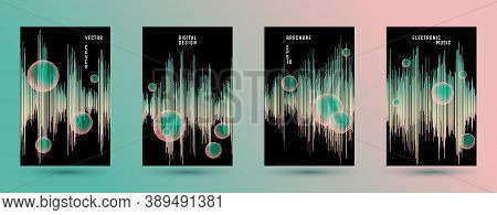Music Covers Set With Dj Equalizer Background.  Abstract Vibration Amplitude.  Distorted Sound Wave