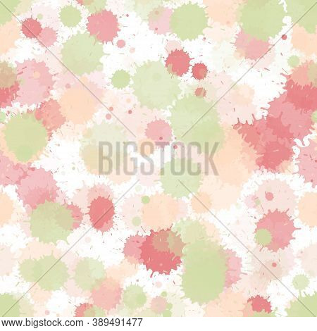 Watercolor Paint Transparent Stains Vector Seamless Grunge Background. Graphic Ink Splatter, Spray B