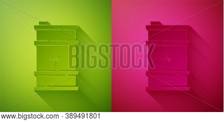 Paper Cut Bio Fuel Barrel Icon Isolated On Green And Pink Background. Eco Bio And Canister. Green En