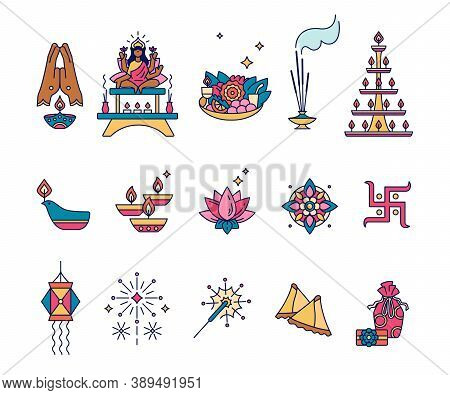 Diwali, Hindu Festival Of Lights - Set Of Outline Icons. Deepawali Symbols. Lamps Dipa, Sand Art Ran