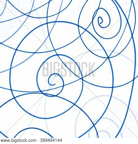 Blue Abstract Scribble Wallpaper. Tangled Paint Painting. Kid Chaotic Artwork. Entangled Circular De