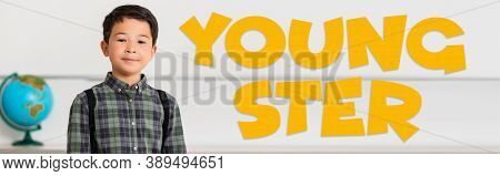 Panoramic Of Asian Schoolboy Looking At Camera Near Youngster Illustration