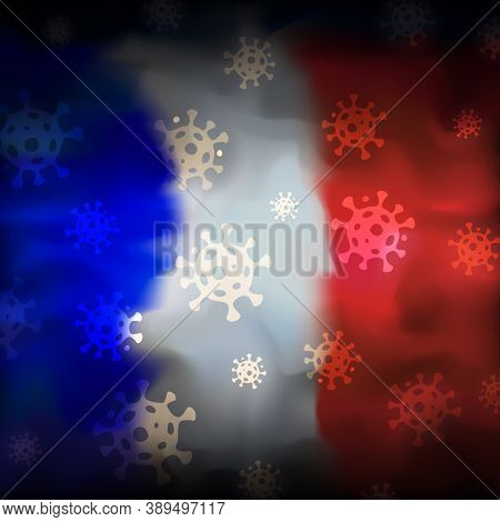 Covid-19 Coronavirus Epidemic In France. Virus Icons On Abstract French Flag Background. Covid-19 Co