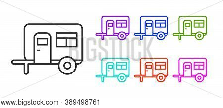 Black Line Rv Camping Trailer Icon Isolated On White Background. Travel Mobile Home, Caravan, Home C