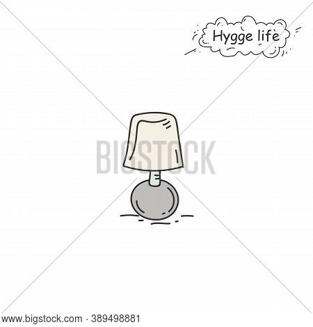 Table Lamp Color Icon. Coziness, Hominess Atmosphere In Simple Things. Hygge Life. Cozy Home Concept