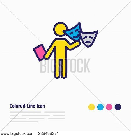 Vector Illustration Of Acting Icon Colored Line. Beautiful Lifestyle Element Also Can Be Used As The
