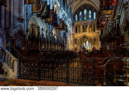 Dublin, Ireland - 09 November 2015: Interior Of Saint Patrick Cathedral In Dublin, Founded In 1191,