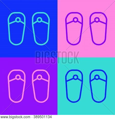 Pop Art Line Flip Flops Icon Isolated On Color Background. Beach Slippers Sign. Vector