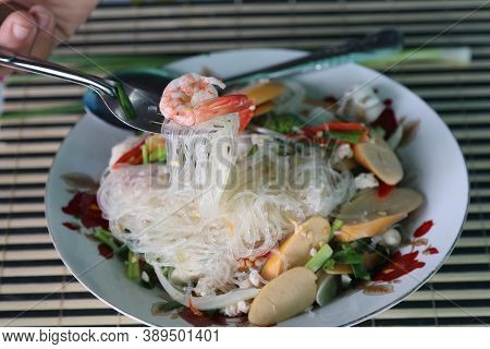 Spicy Vermicelli Salad Ready To Serve On Plates - Spicy Taste Is A Healthy Food, A Traditional Thai
