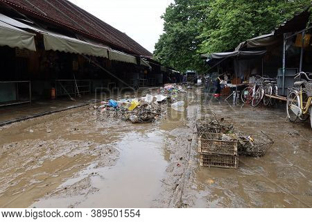 Hoi An, Vietnam, October 13, 2020: A Street In Hoi An After Severe Flooding Due To A Tropical Storm.