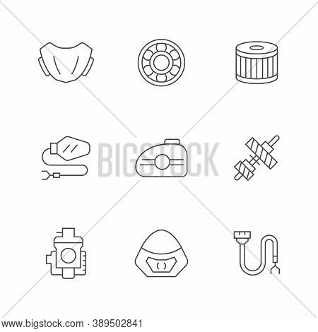Set Line Icons Of Motorcycle Parts Isolated On White. Oil Filter, Windshield, Bearing, Gas Tank, Tra