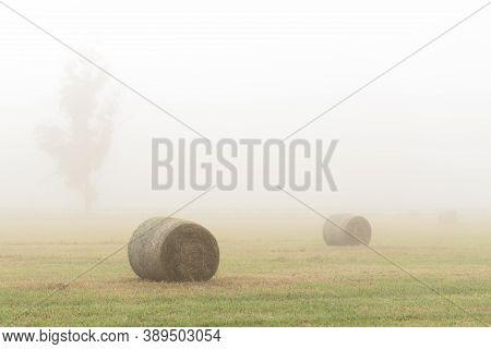 Hay Bales In Foggy Field In Country Farm Lands Australia
