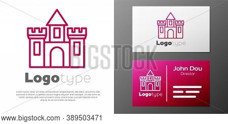 Logotype Line Castle Icon Isolated On White Background. Medieval Fortress With A Tower. Protection F