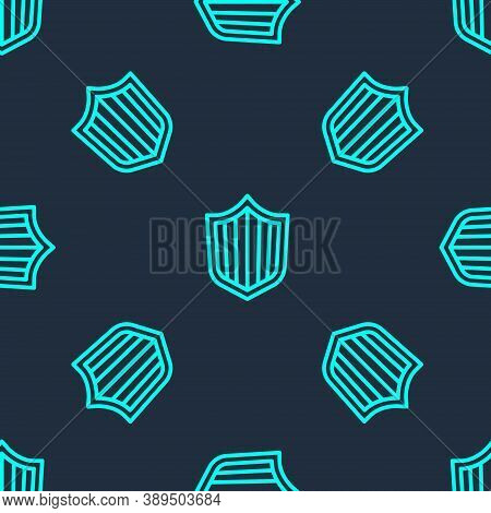 Green Line Shield Icon Isolated Seamless Pattern On Blue Background. Guard Sign. Security, Safety, P