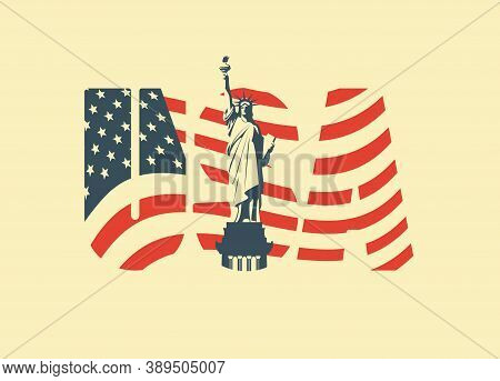 Usa Letters In The Colors Of The American Flag With The Statue Of Liberty On A Light Background. Vec