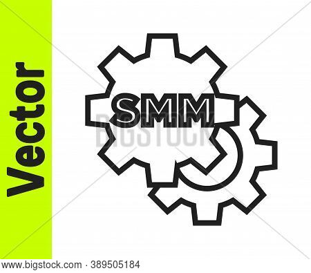 Black Line Smm Icon Isolated On White Background. Social Media Marketing, Analysis, Advertising Stra