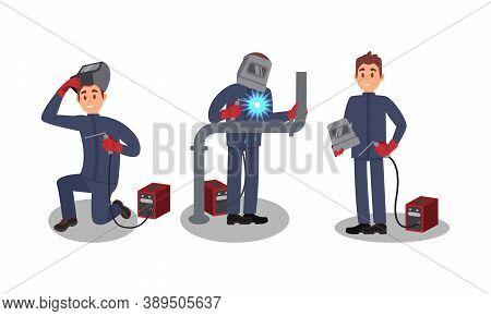 Man Welder In Welding Helmet And Protective Equipment Fusing Materials Together Vector Illustration