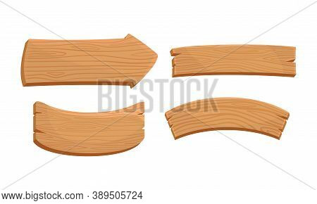 Wooden Sign Or Billboard As Rustic Destination Pointing And Advertisement Vector Set